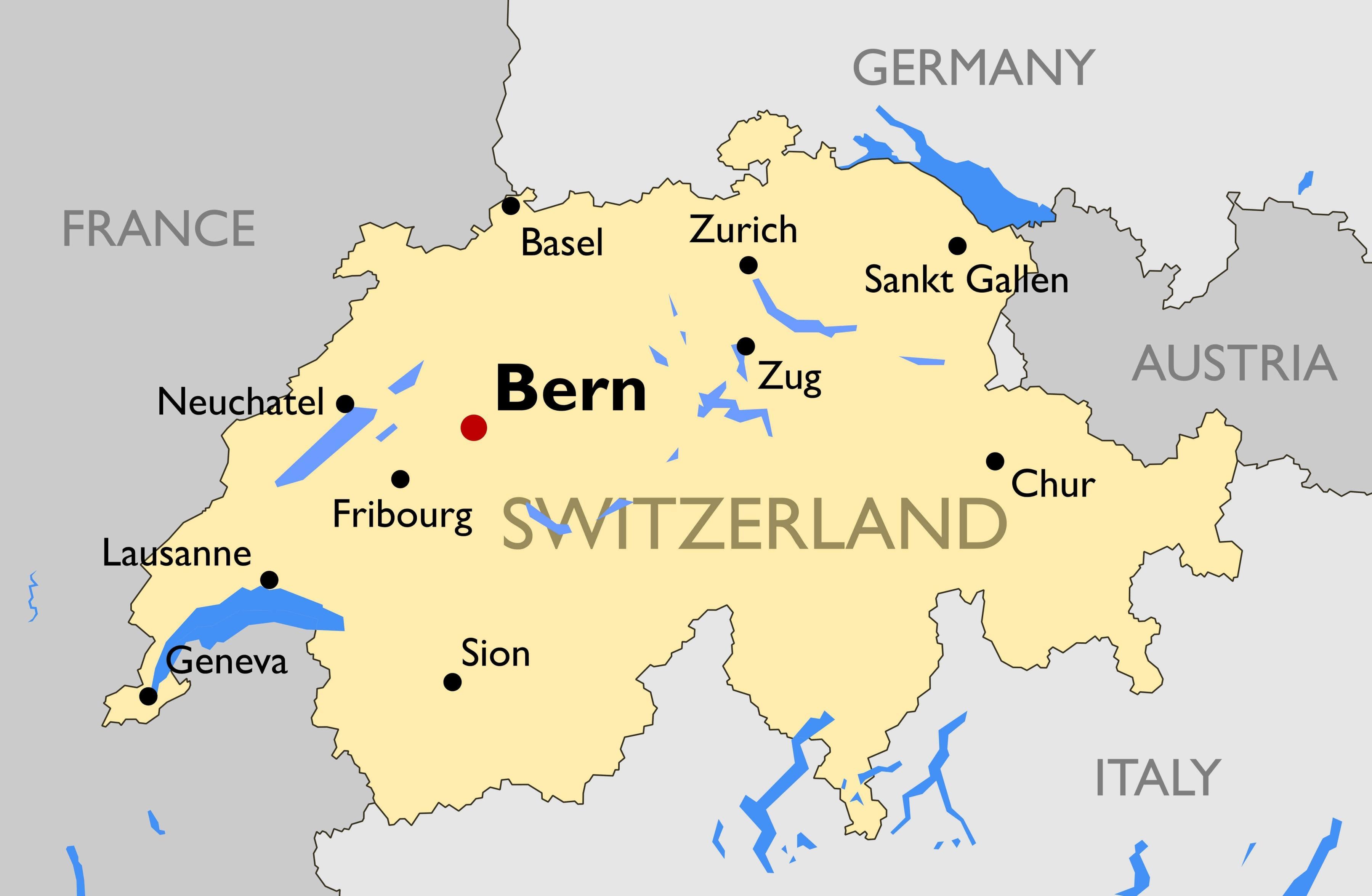 Elveția Orașe Hartă Harta De Elveția Cu Marile Orașe Din Europa