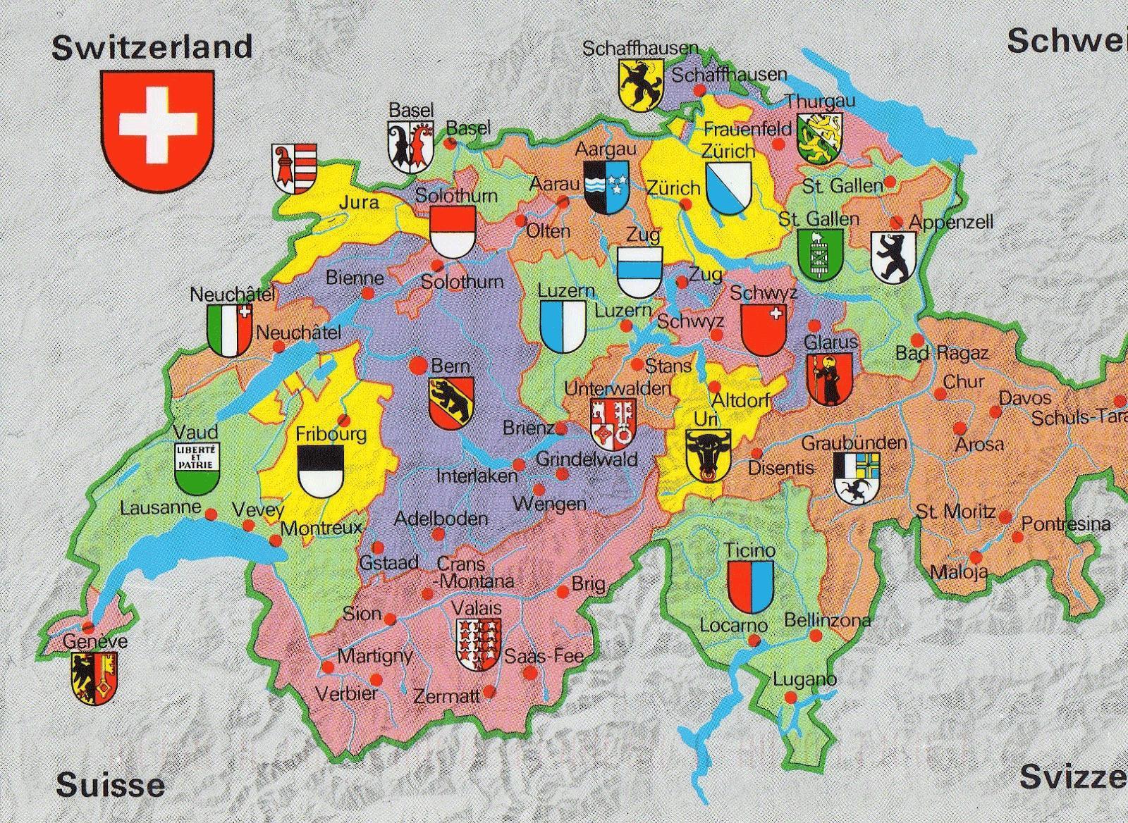 Elvetia Harta Cu Obiective Turistice Harta De Elveția Cu